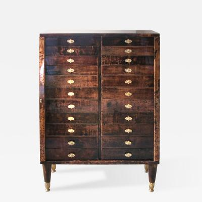 Aldo Tura Lacquered Parchment Twenty Two Drawer Chest