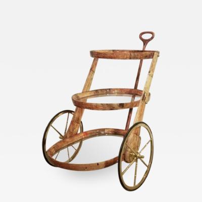 Aldo Tura Lacquered parchment bar cart by Aldo Tura