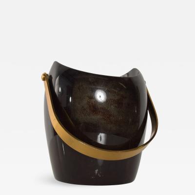 Aldo Tura Luxurious Aldo Tura Ice Bucket in Goatskin Brass Gold 1960s ITALY