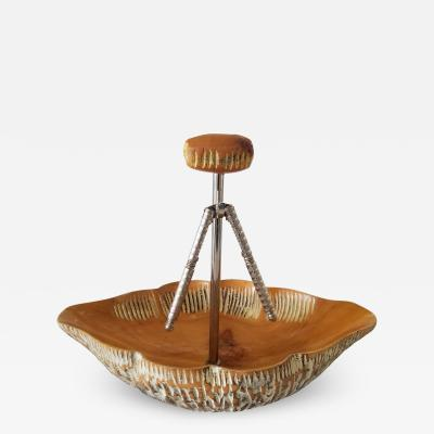 Aldo Tura Macabo Cusano ALDO TURA Carved Wood Nut Bowl Nutcracker Milan Italy 1960s