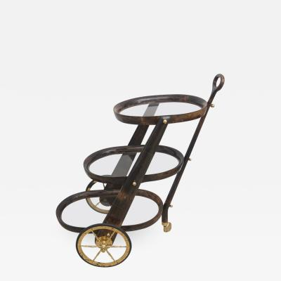 Aldo Tura Mid Century Modern Goat Skin Bar Cart