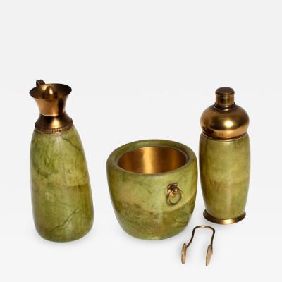 Aldo Tura Mid Century Modern Italian Bar Set Aldo Tura Macacbo Green Goatskin Brass