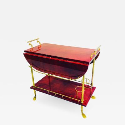 Aldo Tura Mid century Modern Aldo Tura Red Goat Skin Bar Cart