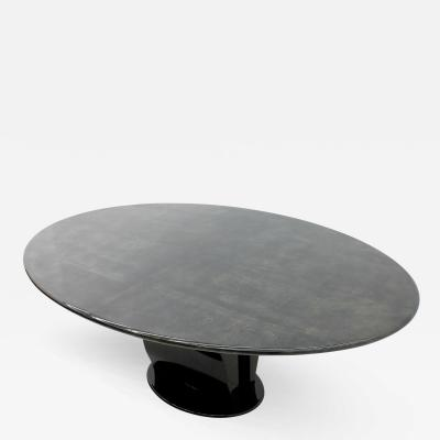 Aldo Tura Oval Goatskin and Black Lacquer Dining Table by Aldo Tura Italy 1972
