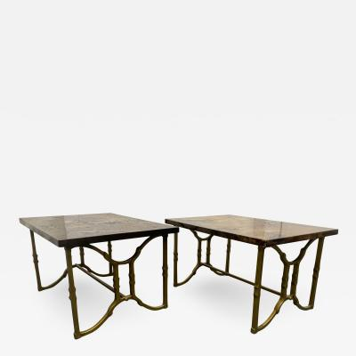 Aldo Tura Pair of Aldo Tura Goatskin End Tables