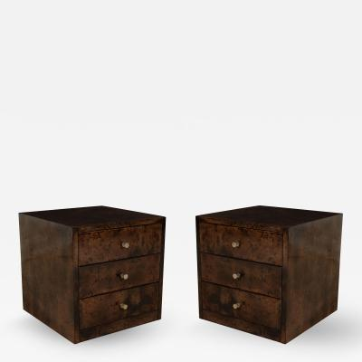Aldo Tura Pair of Brown Dyed Goatskin Aldo Tura Small Tables w Drawers Italy 1960s