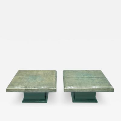 Aldo Tura Pair of Green Goatskin Side Tables by Aldo Tura Italy 1980s