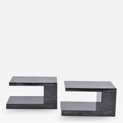Aldo Tura Pair of Lacquered Goat Skin Side Tables by Aldo Tura 1970s