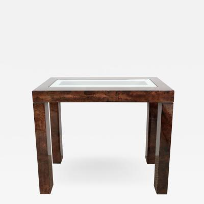 Aldo Tura Parchment Console Table with Mirror Top