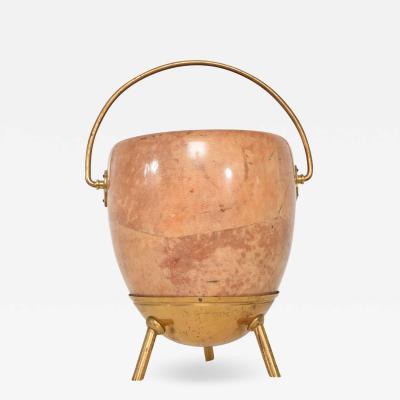 Aldo Tura Pedestal Bucket Catch it All Pot in Goatskin w Brass by ALDO TURA Italy 1960s