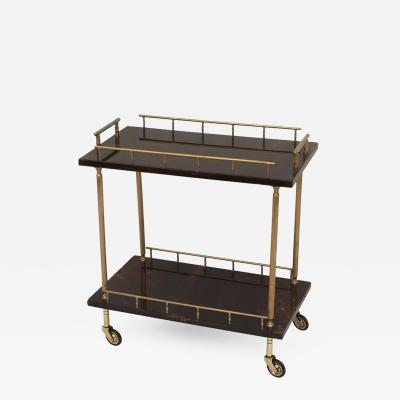 Aldo Tura Petit Aldo Tura Bar Cart in Brown Parchment