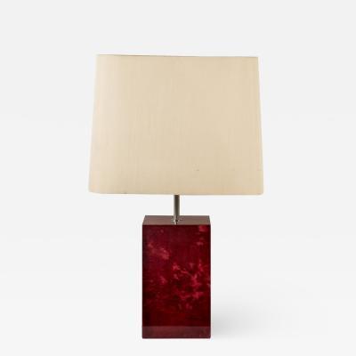 Aldo Tura Rare Red Goatskin lamp By Aldo Tura