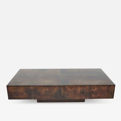 Aldo Tura Rare goatskin parchment coffee table by Aldo Tura 1960s