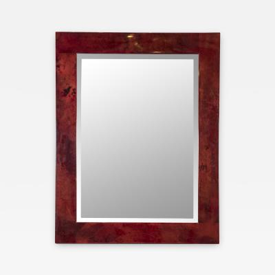 Aldo Tura Rare red Goatskin mirror by Aldo Tura