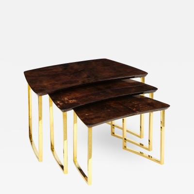 Aldo Tura SET OF THREE NESTING TABLES WITH ALDO TURA LACQUERED PARCHMENT TOPS