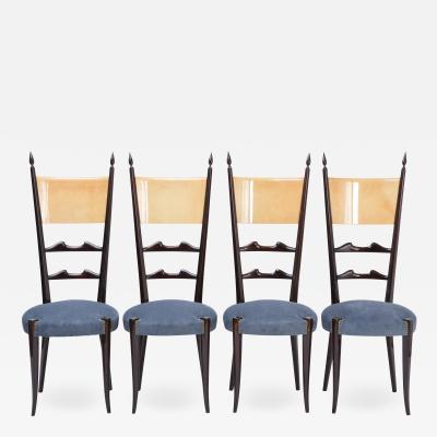 Aldo Tura Set of Four Italian Mid Century Modern High Back Dining Chairs by Aldo Tura