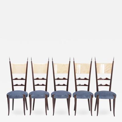 Aldo Tura Set of five Italian Mid Century Modern high back dining chairs by Aldo Tura