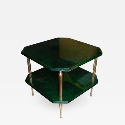 Aldo Tura Side table covered with green goatskin by Aldo Tura