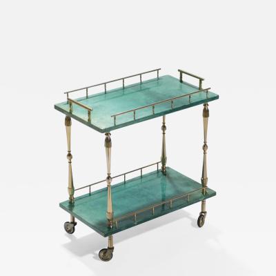 Aldo Tura Small Aldo Tura goatskin parchment bar cart 1950 s