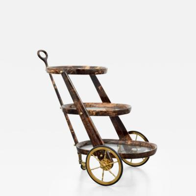 Aldo Tura Stylish Lacquered Parchment Bar Cart by Aldo Tura