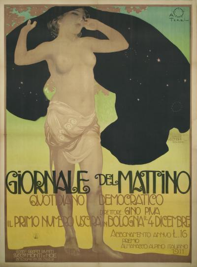 Aleardo Terzi Giornale del Mattino an Italian Art Nouveau Period Poster by Terzi 1911