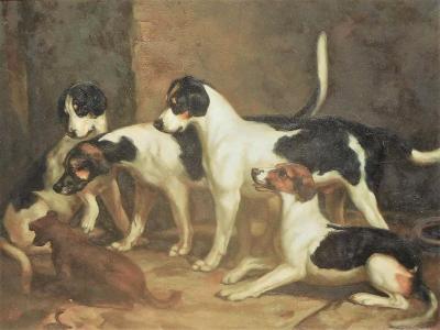 Alert Hounds Oil Painting on PIne Panel School of British Sporting Art