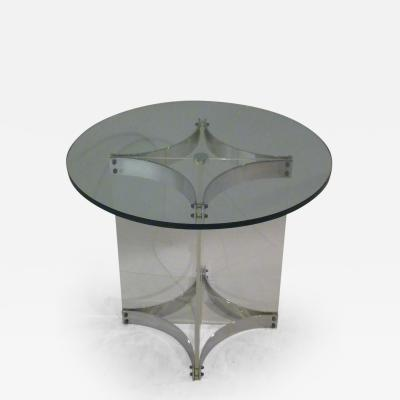 Alessandro Albrizzi Alessandro Albrizzi Lucite Glass and Chrome Side Table
