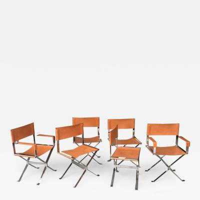 Alessandro Albrizzi Alessandro Albrizzi Nickel and Double Stitched Saddle Leather 6 Dining Chairs