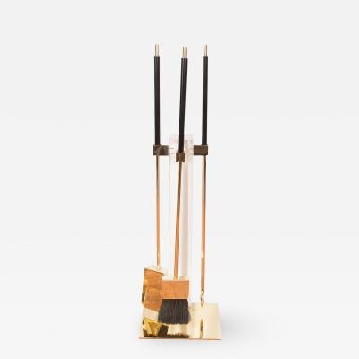Alessandro Albrizzi Brass and Acrylic Fire Tool Set by Albrizzi