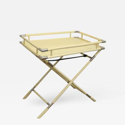 Alessandro Albrizzi Mid Century Modern Cream Lacquer and Chrome Folding Bar Tray Side Table