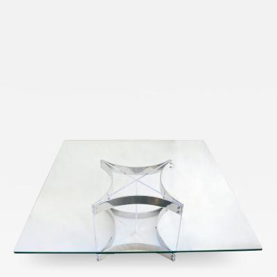 Alessandro Albrizzi Modernist Lucite Chrome Coffee Table by Alessandro Albrizzi