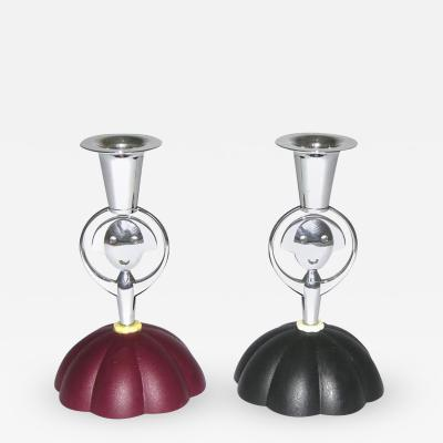 Alessandro Mendini Alessi Alessandro Mendini 1999 Italian Pair of Red and Blue Chrome Candlesticks