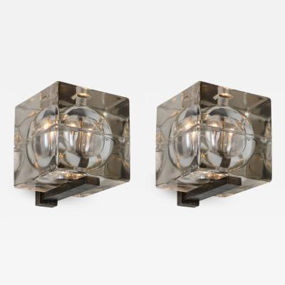 Alessandro Mendini Pair of Cubosfera Wall Lamps by Mendini for Fidenza Vetraria