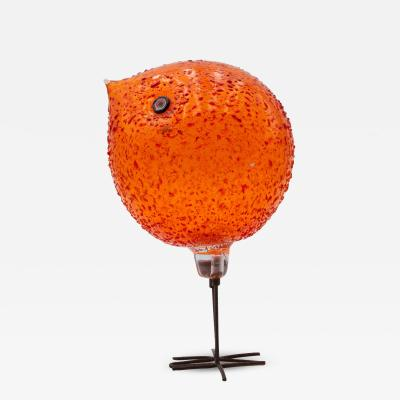 Alessandro Pianon Iconic Space Age Vistosi Murano Orange Pulcino Glass Bird by Alessandro Pianon