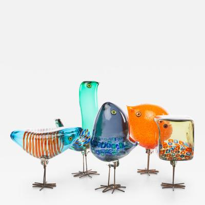 Alessandro Pianon Rare Complete Set of Five Birds by Alessandro Pianon for Vistosi Murano
