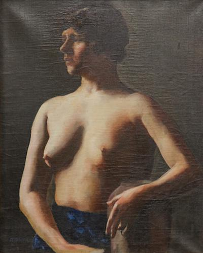Alexander Brook Nude Young Woman Oil on Canvas by Alexander Brook circa 1920s