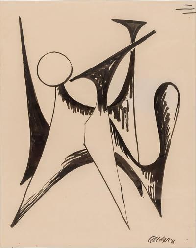 Alexander Calder Alexander Calder Signed Dated India Ink on Paper Stabile Drawing USA 1946
