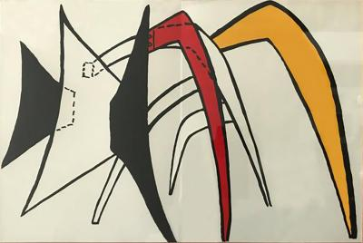 Alexander Calder Graphic Forms in Red Black and Yellow Lithograph Attributed to Alexander Calder