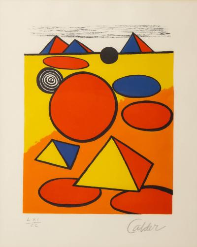 Alexander Calder Red and Yellow Geometric Lithograph Print by Alexander Calder signed