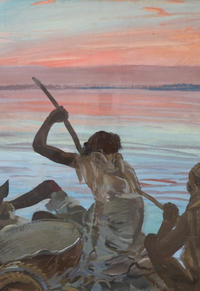 Alexander Iakovlel Exceptional Painting Pirogue by Alexander Iacovleff Black Cruise 1924