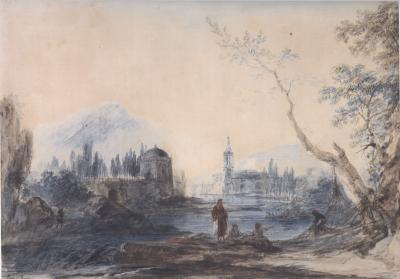 Alexander Jean Noel River Landscape with Fishermen
