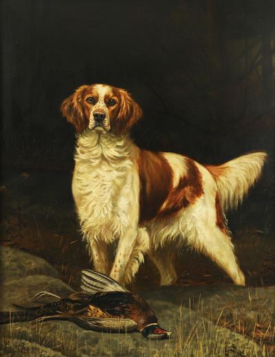 Alexander Pope Jr 1849 1924 An English Setter with Pheasant in a Field