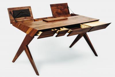 Alexandre Caldas Locust Wood Desk with Nest Chair Alexandre Caldas