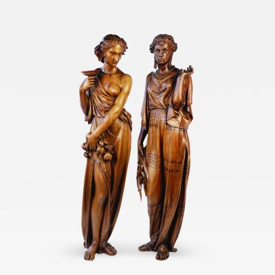 Alexandre George Fourdinois Pair Extremely Fine Carved Butternut Wood Figures Representing Europe and Africa