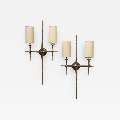 Alexandre Log Cinelli Sculptural Bronze Sconces by Alexandre Log