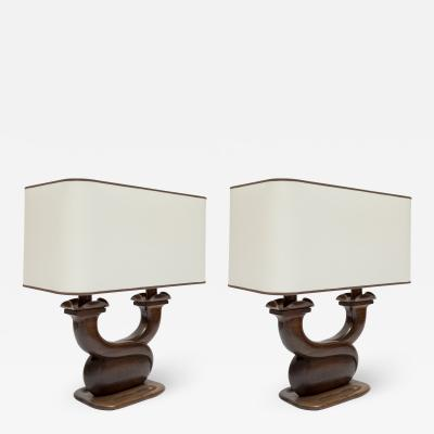 Alexandre Noll Pair of 1950s Rosewood table lamps in the style of Alexandre Noll