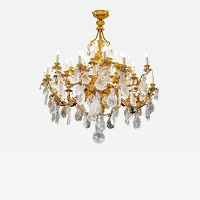 Alexandre Vossion Amazing french rococo XIX th period frame chandelier with rock crystal stones