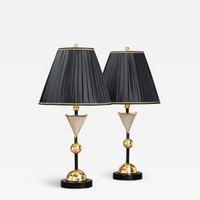 Alexandre Vossion DIADEM Pair of Rock Crystal table lamps
