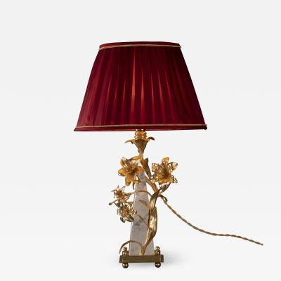 Alexandre Vossion Flower Lamp in Rock Crystal and Ormolu Bronze by Alexandre Vossion