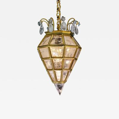 Alexandre Vossion LANTERNE Rock crystal and bronze pendant